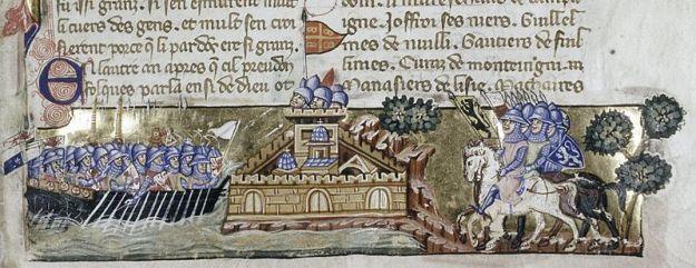 ttack of the Crusaders on Constantinople, miniature in a manuscript of 9 La Conquête de Constantinople by Geoffreoy de Villehardouin, Venetian ms.