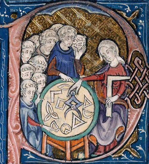 Manuscript illumination of the personification of Geometry, based on Martianus Capella's famous book De Nuptiis Philologiae et Mercurii, [5th c.] a standard source for allegorical imagery of the seven liberal arts. Illustration at the beginning of Euclid's Elementa, in the translation attributed to Adelard of Bath.