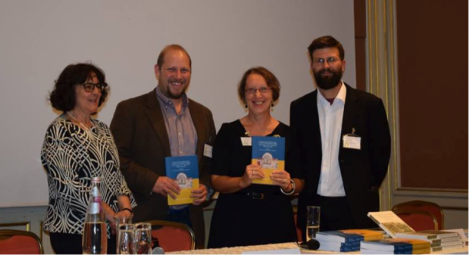 The editors with the presenters of the volume: Rita Lizzi Testa (University of Perugia, far left), Ned Schoolman, Marianne Saghy (Central European University) and Trpimir Vedriš (University of Zagreb, far right).