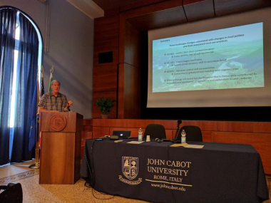 University of Nevada, Reno Geography Professor Scott Mensing discusses landscape change at a conference in Rome.